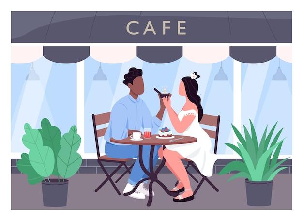 Propozycja małżeństwa płaski kolor. romantyczna kolacja. mężczyzna proponuje kobiecie pierścionek z brylantem. wieloetniczna para postaci z kreskówek 2d z witryną kawiarni w tle
