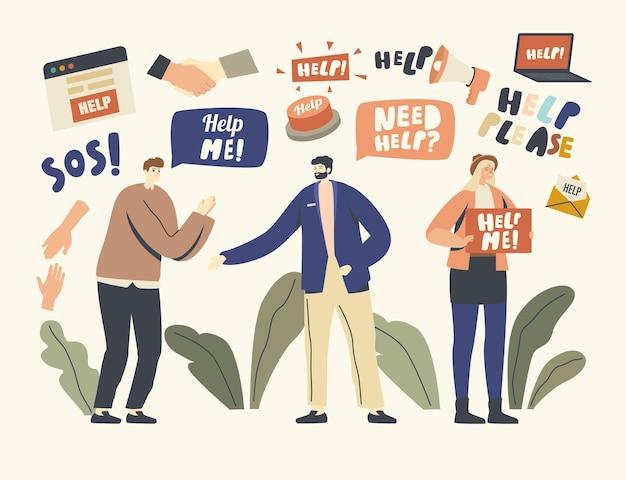 Prośba o pomoc ilustracja. postacie płci męskiej i żeńskiej w potrzebie proszą o wsparcie