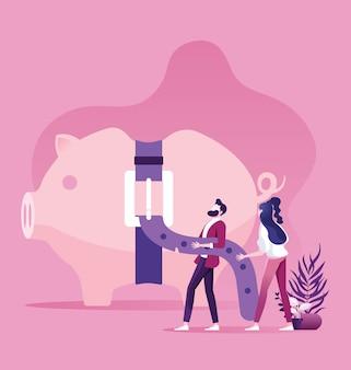 Prosiątko bank z ciasnym pasowym biznesowym pieniężnym pojęciem