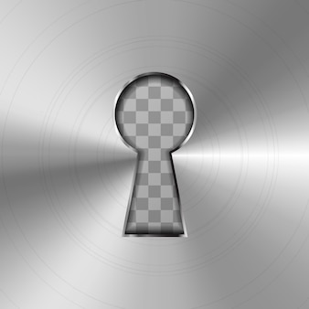 Prosta dziurka od klucza w błyszczącej metalowej płytce