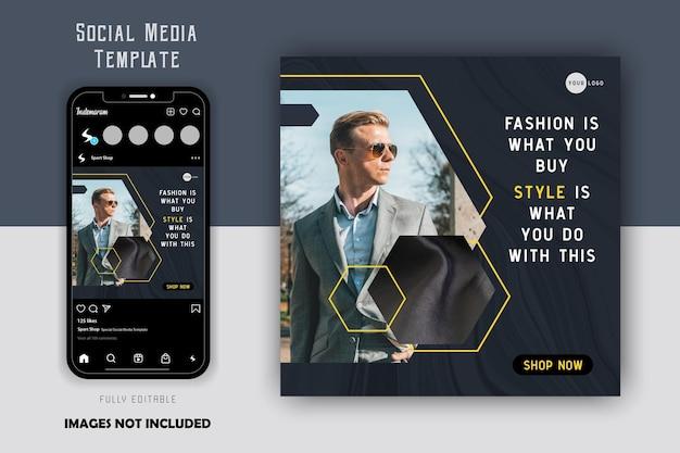 Prosta elegancka luksusowa linia pięciokąta szara moda męska szablon postu na instagramie w mediach społecznościowych