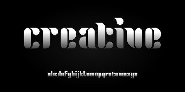 Prosta elegancka nowoczesna czcionka alfabetu. typografia czcionki w stylu miejskim dla technologii, technologii cyfrowej, filmu, projektowania logo