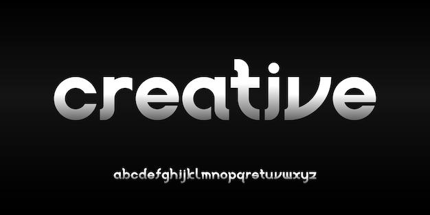 Prosta, elegancka, nowoczesna czcionka alfabetu w stylu miejskim dla technologii projektowania logo cyfrowego filmu