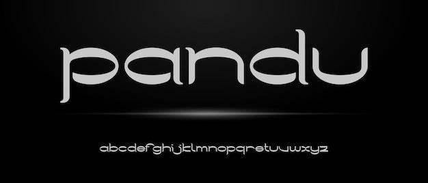 Prosta, elegancka, nowoczesna czcionka alfabetu z szablonem w stylu miejskim