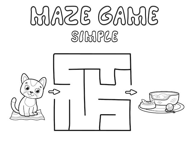 Prosta gra logiczna labirynt dla dzieci. zarys prostego labiryntu lub labiryntu z kotem. ilustracje wektorowe