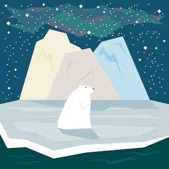 Prosta graficzna ilustracja w modnym stylu płaski z białym niedźwiedziem polarnym i lodem na tle gwiaździstego nieba do wykorzystania w projektowaniu karty, zaproszenia, plakatu, banera lub afiszu na temat natury