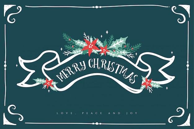 Prosta i elegancka kwiecista wesoło kartka bożonarodzeniowa