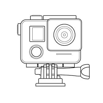 Prosta ikona kamery akcji w stylu konspektu
