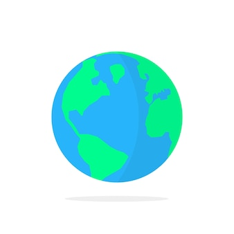 Prosta ikona planety ziemi z cieniem. koncepcja podróży dookoła świata, orbita, środowisko, odznaka linii lotniczej, geo. płaski trend nowoczesny logotyp projekt graficzny ilustracja wektorowa na białym tle