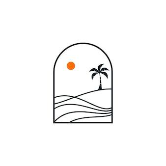Prosta ilustracja projektu logo krajobrazu plaży