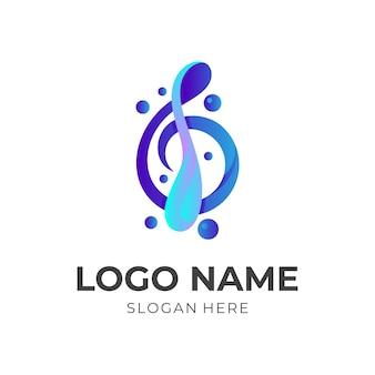 Prosta ilustracja projektu logo muzyki, ikony melodii