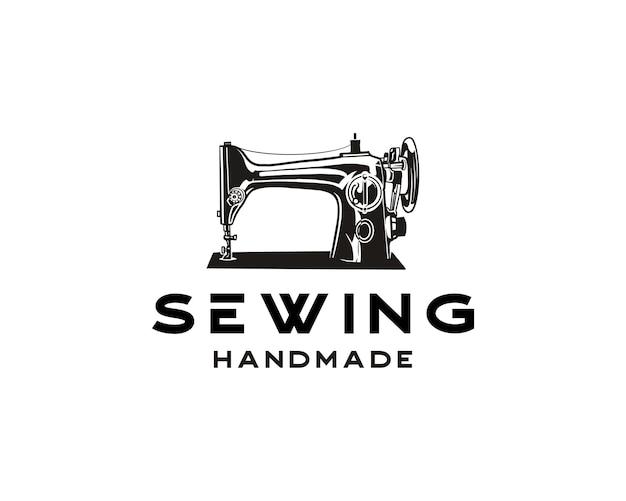 Prosta ilustracja ręczna maszyna do szycia logo szablon projektu logo sklepu krawieckiego