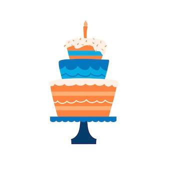 Prosta ilustracja wektorowa tort urodzinowy ze świecą.