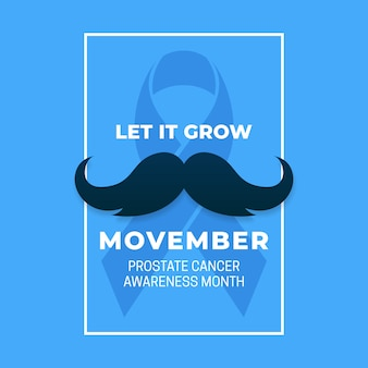 Prosta kampania plakatowa movember miesiąc świadomości raka prostaty z wąsami i niebieską wstążką.