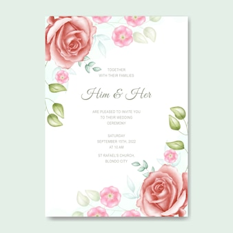 Prosta karta zaproszenie na ślub kwiatowy akwarela