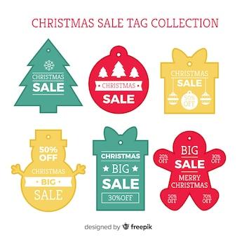 Prosta kolekcja etykiet świątecznej sprzedaży