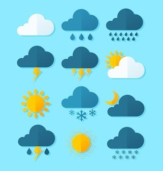 Prosta kolekcja ikony pogody płaskiego stylu