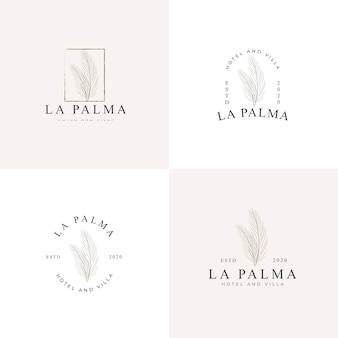 Prosta kolekcja logo ilustracyjnych liści palmowych