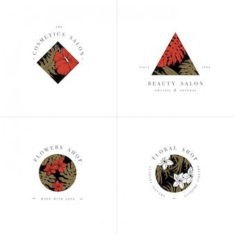Prosta kolekcja logo. zestaw wygrawerowanego logotypu. botaniczny salon piękności i organiczne symbole kosmetyczne z kwiatami hibiskusa i plumerii. tropikalne liście palmowe.