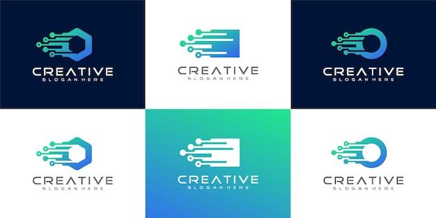 Prosta kolekcja logotypów technologii gradientowej premium vector