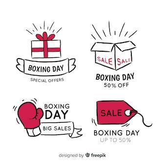 Prosta kolekcja odznaki dzień boxing