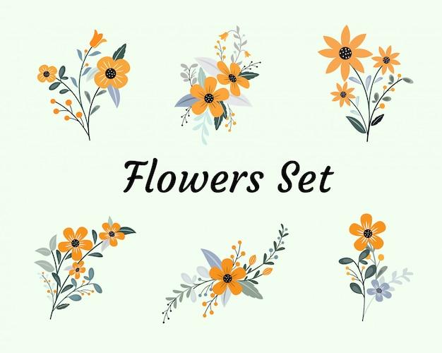 Prosta kolekcja płaska zestaw kwiatowy wzór materiału