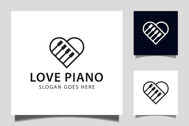 Prosta linia fortepianu miłość muzyka symbol ikona wektor dla pianisty projektowanie logo instrumentów muzycznych