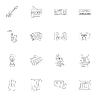 Prosta linia zestaw ikon instrumentów muzycznych.