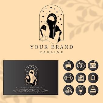 Prosta piękna kobieta welon dziewczyna hidżab logo edytowalny szablon