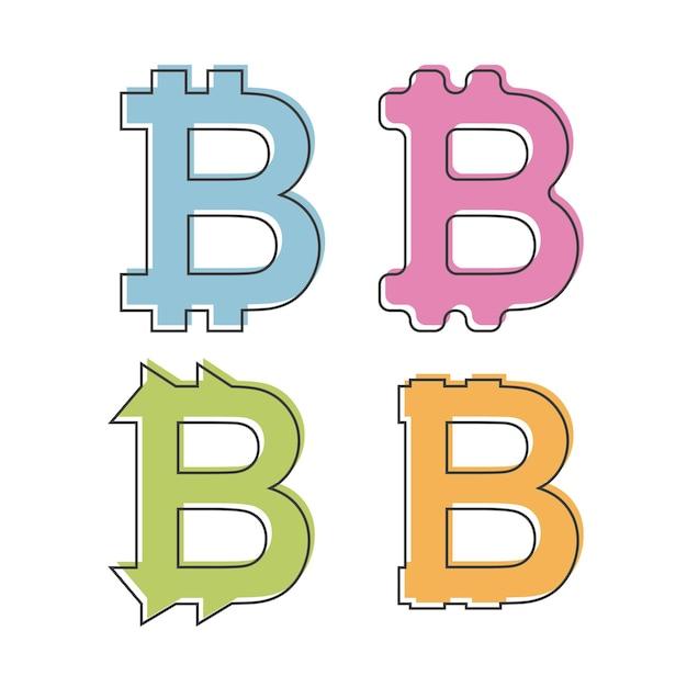 Prosta, płaska ikona bitcoin - logo. cztery wariacje - różne kolory i formy. na białym tle - ilustracja wektorowa płaski