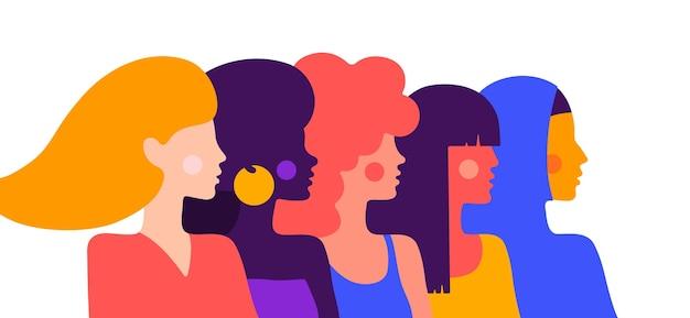 Prosta postać kobiety damy różnych narodowości