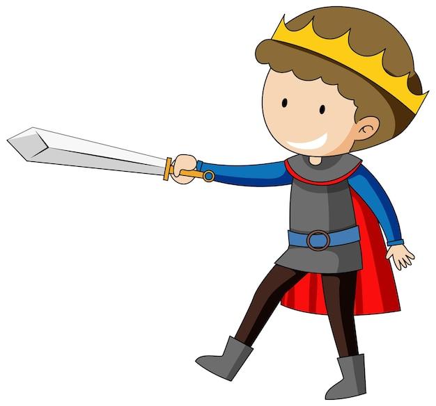 Prosta postać z kreskówki króla trzymającego miecz na białym tle
