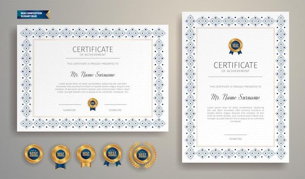 Prosta ramka certyfikatu w kolorze niebieskim ze złotą odznaką i szablonem granicy