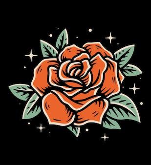 Prosta róża wektor ilustracja styl japonii ilustracja na na białym tle