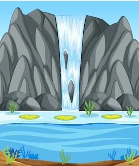 Prosta scena z wodospadem