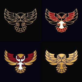 Prosta sowa logo unikalna ilustracja