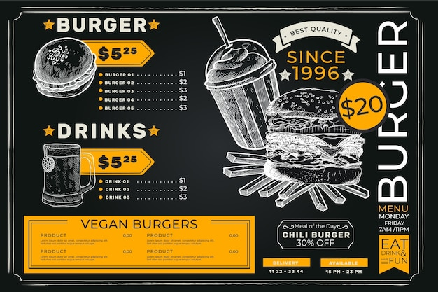 Proste ciemne menu z burgerami premium