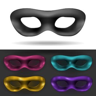 Proste czarne i kolorowe maski karnawałowe na białym tle