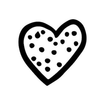 Proste doodle serce wektor na walentynki kartki, plakaty, zawijania i projektowania. ręcznie rysowane serce, na białym tle na białym tle. kształt geometryczny, symbol ilustracja walentynki.