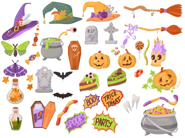 Proste frazy w elementach na obchody halloween. ilustracja wektorowa na białym tle.
