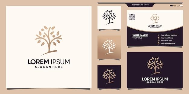 Proste i eleganckie logo drzewa z unikalną nowoczesną koncepcją i projektem wizytówek premium wektor