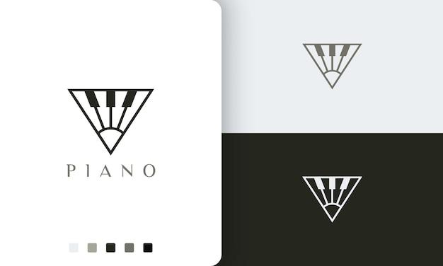 Proste i nowoczesne logo fortepianu lub ikona w kształcie trójkąta