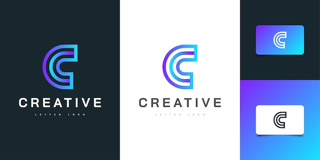 Proste i nowoczesne projektowanie logo litery c w niebieskim gradientem. graficzny symbol alfabetu dla tożsamości biznesowej