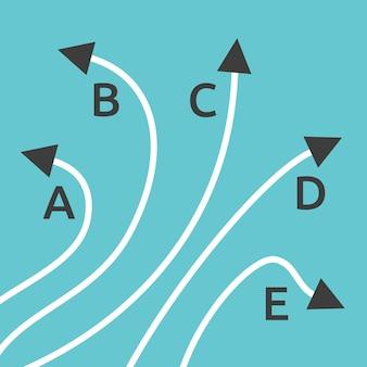 Proste i skomplikowane ścieżki od a do b na niebieskim tle. koncepcja problemu, rozwiązania i wyboru. płaska konstrukcja. ilustracja wektorowa eps 8, bez przezroczystości