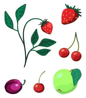 Proste jagody, zestaw owoców. truskawka, wiśnia, jabłko, śliwka. ilustracje wektorowe na białym tle. clipart do wystroju, naklejek, projektów, kart, nadruków. kolorowe gryzmoły wiosennych, letnich zbiorów.