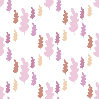 Proste jesienne liście wzór w pastelowych kolorach. tapeta sezon jesienny. tło gałąź liść. wektor ilustracja lasu na białym tle. płaski styl do tkanin tekstylnych, owijania