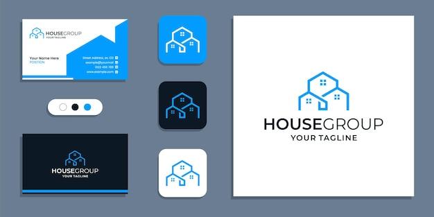 Proste kreatywne logo grupy i szablon inspiracji do projektowania wizytówek