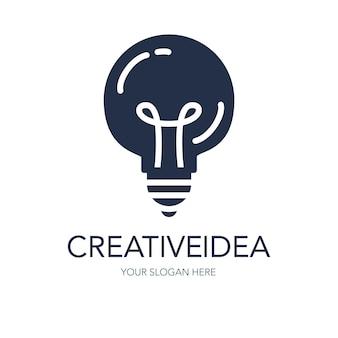 Proste kreatywne logo pomysł na sukces. symbol innowacji. znak żarówki. element projektu na rozpoczęcie działalności gospodarczej, technologii, nauki. ikona koncepcja wynalazku, badania, wyobraźni i kreatywności. wektor