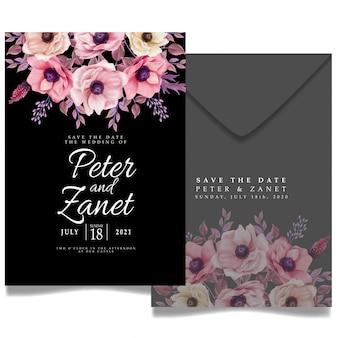 Proste kwiaty cyfrowe ślubne imprezy karta zaproszenia do edycji szablon