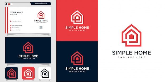 Proste logo domu ze stylem konturu i projektem wizytówki, dom, nieruchomość, grafika liniowa, konspekt,
